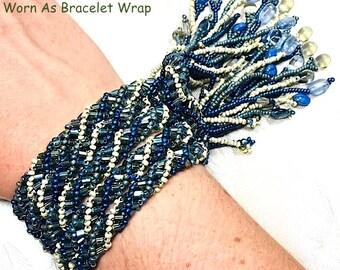 Denim Blue designer beaded spiral Lariat, one of a kind!
