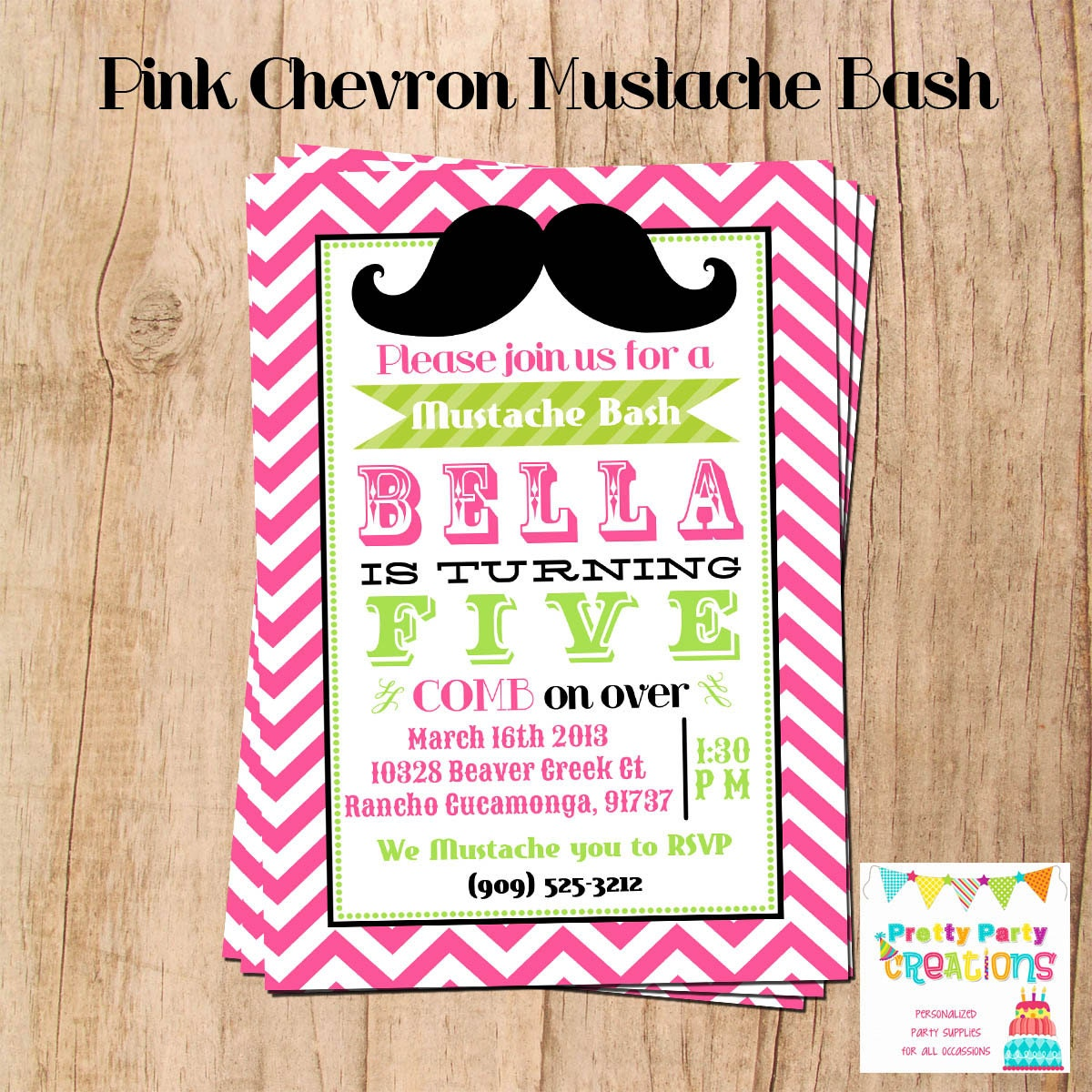 CHEVRON MUSTACHE bash invitation You Print