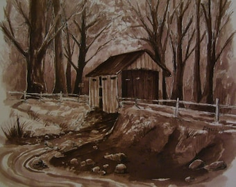 Covered Wooden Bridge,Lazy Stream, 16 x 20 Original Watercolor,ONE OF A KIND, Not a Print,