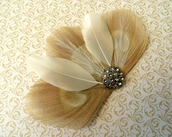 DANIELLE in Ivory and White Peacock Feather Hair Clip, Wedding