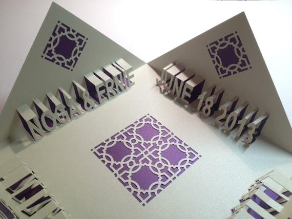 Happy anniversary d pop up greeting card in metallic purple