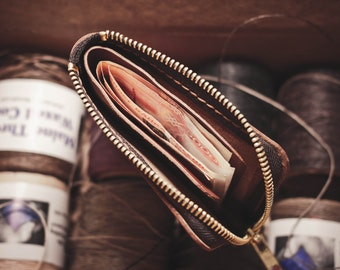 Horween Leather Mini Zip Wallet / Small leather wallet / Horween Leather Wallet/ Zip wallet/ Leather Card holder/Men's Leather Wallet