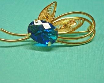 Topaz Brooch --   ON SALE  --Blue Topaz Pin - Swiss Topaz Brooch - Gold and Topaz Brooch