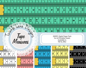 Tape Measures, Digital Paper, Measuring Tape, Sewing, DIY, Ruler, Paper Tape, Six A4 Pages, Printable, Papercrafting Paper, Digital Tape