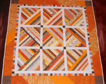 Quilt Lap or Throw Sunlight Bright Strips Hand Quilted Autumn Colors