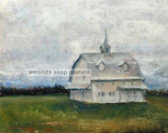 barn pastel painting-Washington Courthouse Barn-framed original pastel painting-barn painting-rural landscape-amanda sapp-white barn