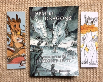 Here Be Dragons! Favourites of Inktober 2016-17 - 44 pages, watercolour and ink artwork + bookmarks - book, zine, collectable
