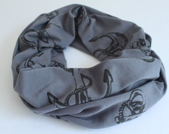 SALE *Was 29* Anchor Small Scarf, Infinity Scarf, 100% Organic Cotton Jersey, Circle Scarf, Nautical, Hand printed in Canada, Fall Scarf