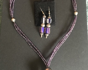 Purple Bam 18' necklace and earring set