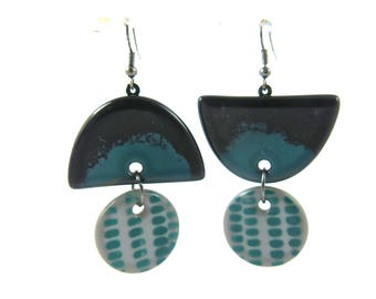 Asymetrical Modern Hand Painted Fused Glass Earrings, Black and Green