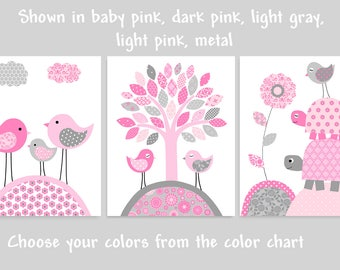 Gray and Pink Nursery Art, Girl's Room Decor, Birds and Turtles, Playroom Decor, Baby Shower Gift, Baby Girl Wall Art, Nursery Wall Decor