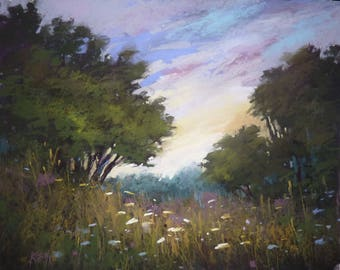 Dramatic Contemporary  Landscape with Violet Sky Original Pastel Painting 16x20