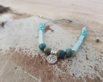 Filigree beaded bracelet with glass beads and jasper-pastel Blue Silver Macrium