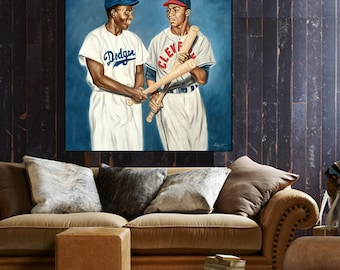 Jackie Robinson painting, baseball art, baseball painting, Larry Doby, Dodgers