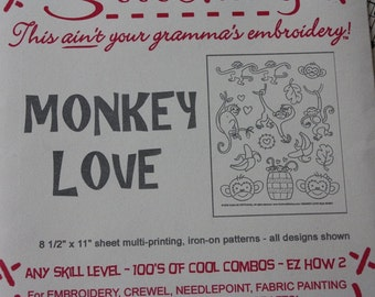 Sublime Stitches Monkey Love Embroidery Pattern