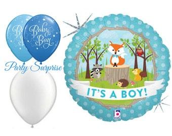 Its a Boy Balloons Woodland Baby Boy Shower New Baby Boy Balloons Woodland Animals Balloons Woodland Animals Baby Shower Boy