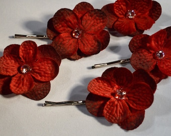 Hair Pin- Red Hydrangea Flower with Swarovski Crystal