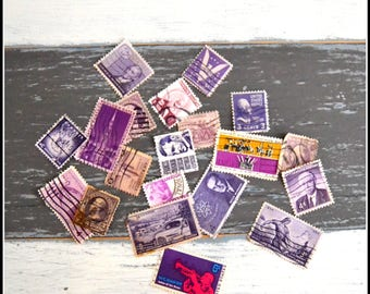Vintage Cancelled Used Postage Stamps - Purple US Stamps - 1920's - 1980's