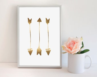 Gold Foil Arrows, Real Gold Foil Print, Rustic Chic Arrow, Modern office Print, Gold Office Decor, Follow your Arrow, Arrow Wall Art