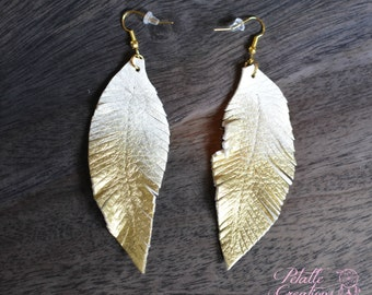 Leather Feather Earrings - Leather Feather Jewelry -  Painted Gold - Leather Feather Earrings - gold leather earrings - boho earrings