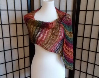 Handmade, knitted lightweight Shawl, Wrap, Scarf in multi-colors.