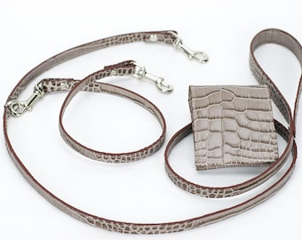 Double dog leash in exclusive and elegant printed Italian leather