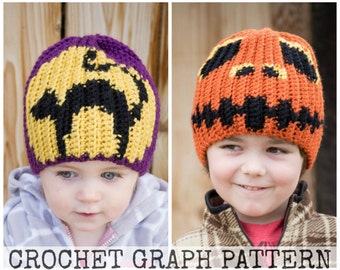 CROCHET GRAPH - Halloween 2 Pack Color Grid for Crochet or Knit Beanies