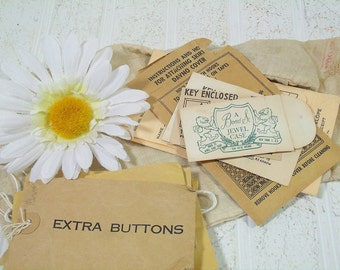 Small Envelopes Collection Set of 10 Vintage Naturally Aged Old Fashioned Envelopes for Extra Buttons - Vintage Jewelry Box Key Envelopes