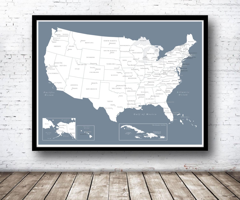 USA-Push-Pin-Karte nur drucken Karibik Karte Reise-Karte