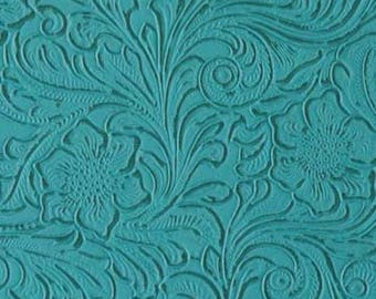 "Turquoise Western Floral Heavy Duty Upholstery Vinyl 54"" Wide Fabric By The Yard"
