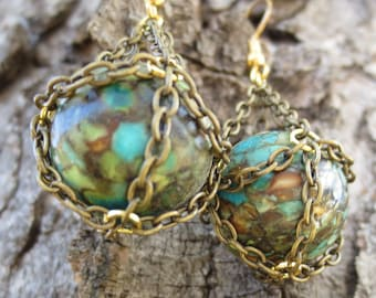 Basket Chained Mosaic Turquoise Rounds Earrings