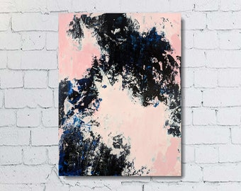 Original Abstract Painting, Blue Abstract Canvas Art, Abstract Wall Art, Light Modern Art, Canvas Art Painting, 18x24 Abstract Art, Pink Art