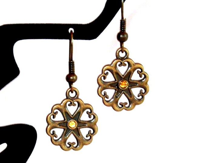 Flower with Golden Gemstone Earrings, Dangle Earrings, Hook Earrings, Bell Art Designs 25