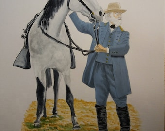 """General Robert E Lee with his favoured horse """"Traveller"""". Printed on A4 semi-gloss. Signed on reverse by artist as a Limited Edition of 50."""