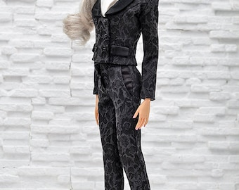 ELENPRIV black jacquard pants for Sybarites on Gen X body dolls and similar body size dolls