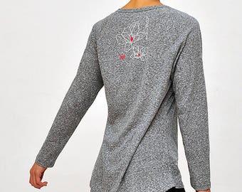 Lotus printed raglan long sleeve shirts, Cover-up for leggings