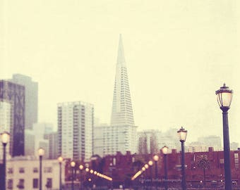 San Francisco photography, Pier 7 photo, California wall art, Transamerica Pyramid photograph, San Francisco print, loft decor, romantic