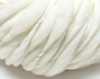 Super bulky handspun yarn, undyed, spun thick and thin in natural cream merino wool - 50 yards, 3.4 ounces/97 grams