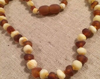 Baltic Amber Teething Necklace Polished or Raw 12.5 inch Drooling, Colic, Reflux Milk Cognac Lemon Luxury Maximum Effective Authentic