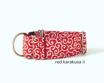 RED KARAKUSA II martingale dog collar, anti-escape dog collar