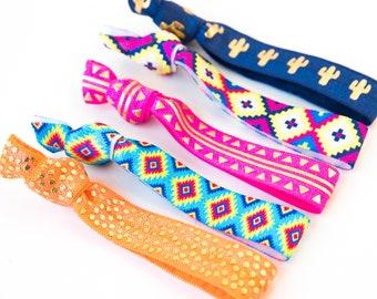 Piñata Hair Tie Set | Colorful Fiesta Creaseless Elastic Hair Ties, Boho Hair Tie Set, Bright Pink Neon Orange Fiesta Cactus Mexican Blanket