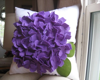 Hydrangea  Pillow in White Linen and Purple Felt Bloom