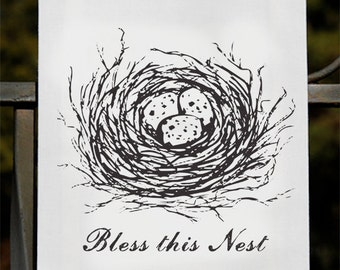 Two Tea Towels - BLESS THIS NEST Family Blessings Flour Sack Tea Towels