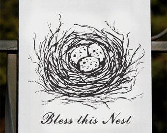 Deux torchons - bénir ce nid familial bénédictions farine Sack torchons