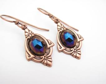 Art Deco Earrings, Art Nouveau, Antiqued Copper, Ornate Dangle Lever Back Ear Wires Clip On Earrings Wedding Jewelry, Hawaii Beads