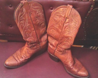 70s Dan Post Lizard/Leather Cowboy Boots Women's 10.0 Mens 8.0  Sold As Is