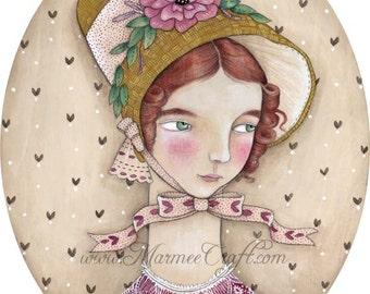 "MarmeeCraft Victorian art print, ""Adelaide's New Bonnet"""