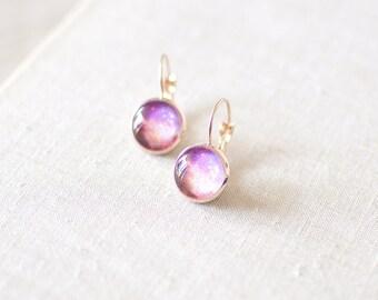 Peach and Purple Galaxy Earrings. Space Earrings. Galaxy Jewelry. Nebula Earrings. Rose Gold Plated Glass Dome Earrings. Galaxy Jewelry.
