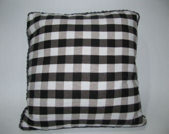 rustic cushion, black tiles