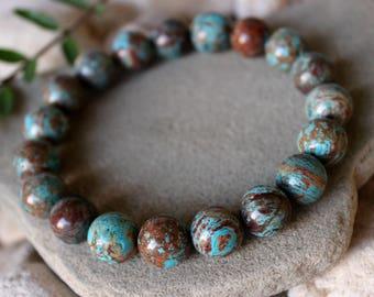 Blue Crazy Lace Agate Bracelet, Crazy Lace Agate Bracelet, Blue Agate Jewelry, Blue Bead Bracelet, Agate Wrist Mala, Blue Crazy Lace Agate